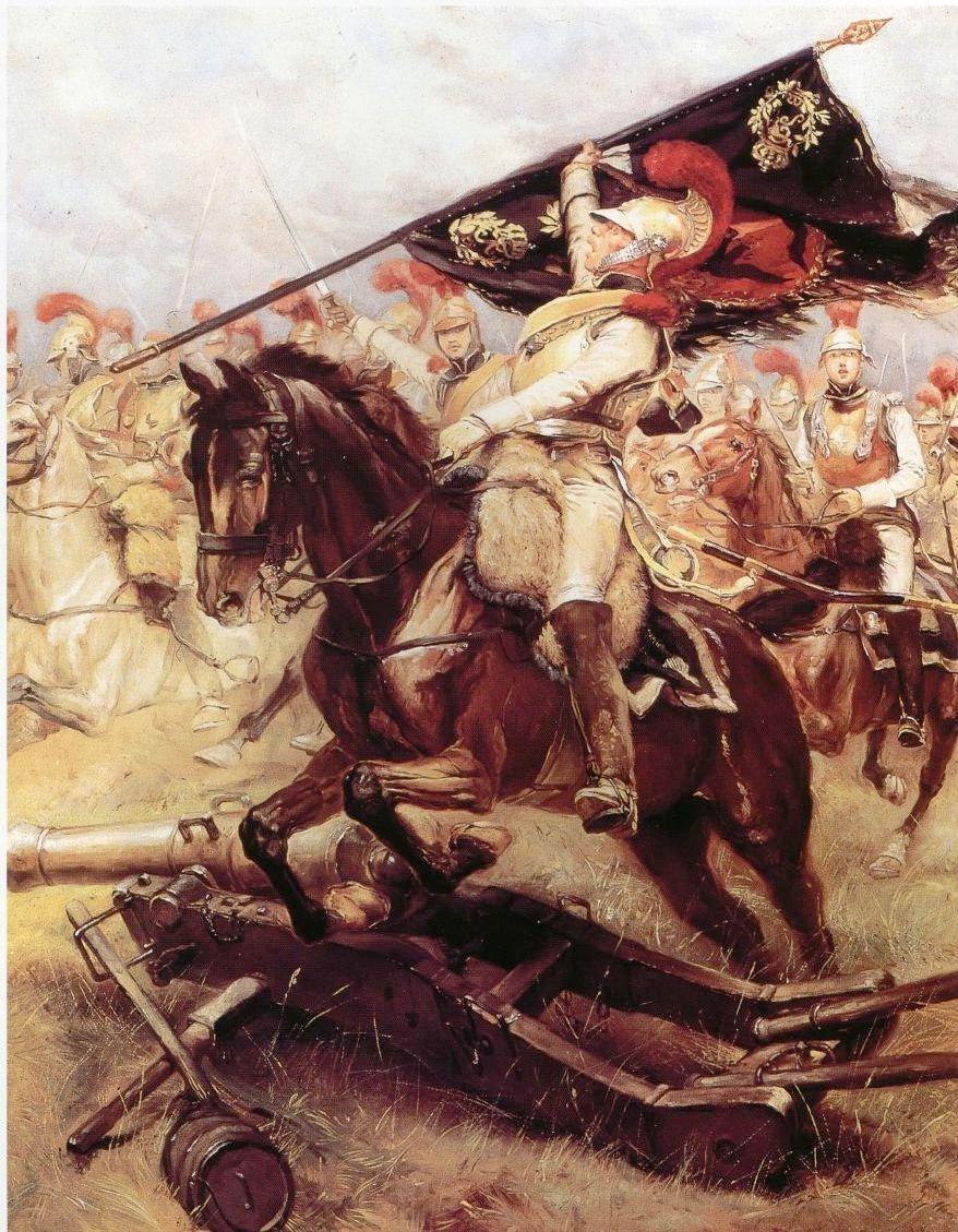 An oil on board painting, Retour de Carabiniers de La Charge, by Edouard Detaille