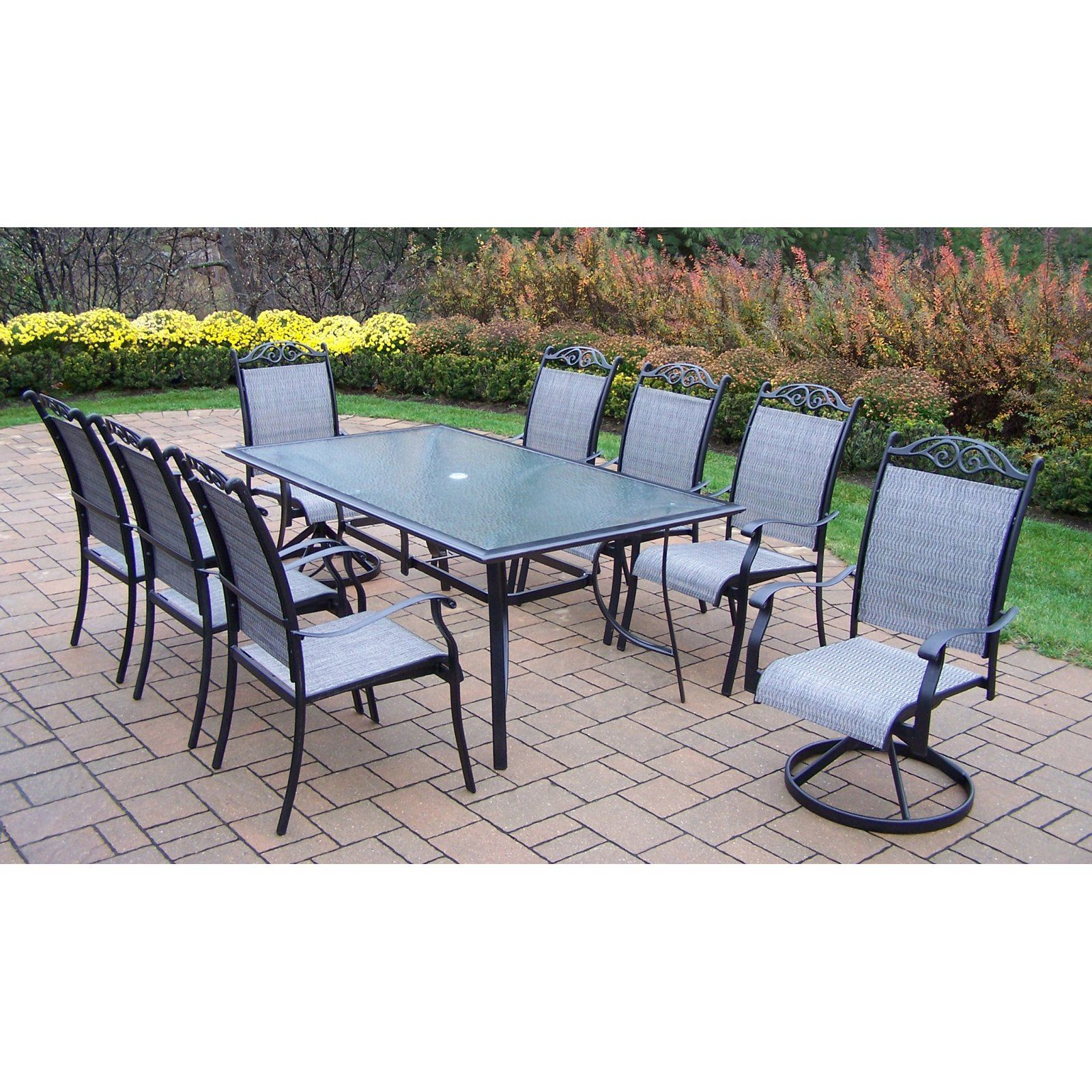 Oakland Living Cascade 9 Piece Sling Patio Dining Set The Is A Chic And Smart Way To Prepare Your