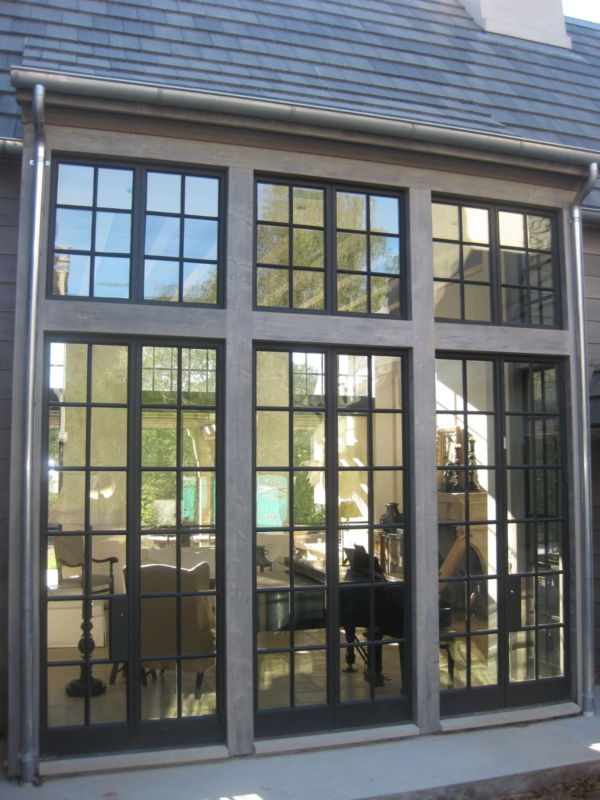 12 Lite French Door W Transom Sage Custom Steel Doors And Windows Steel Windows Windows Exterior