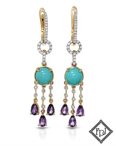FPJ Brand New Chandelier Earrings with 4.21ctw precious stones ...