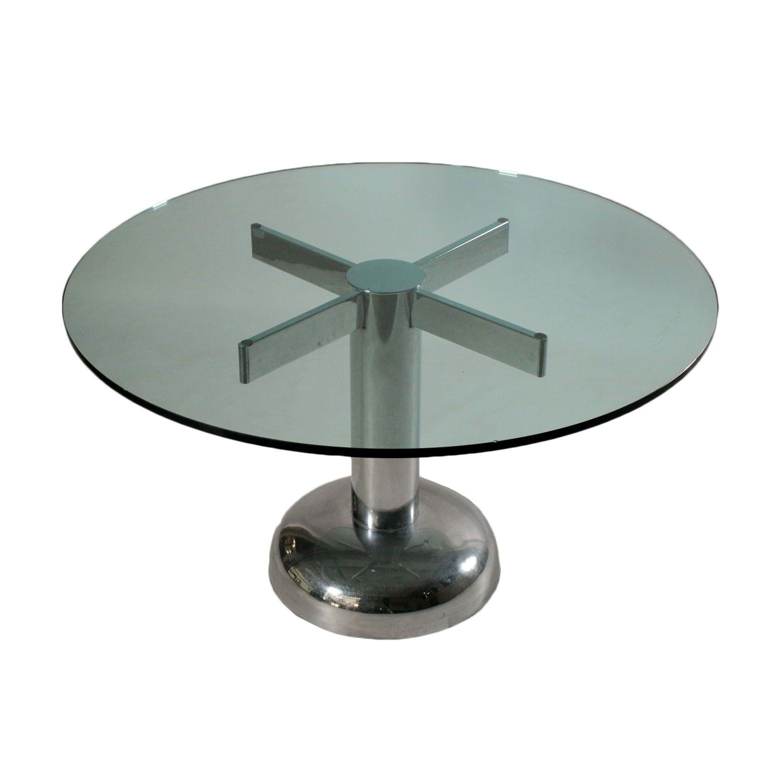 Vintage Et Deco Table Metal Chrome Verre Vintage Italie Annees 60 70 Table Base En Metal Chrome Dessus En Verre Table Metal Table Vintage Table En Verre