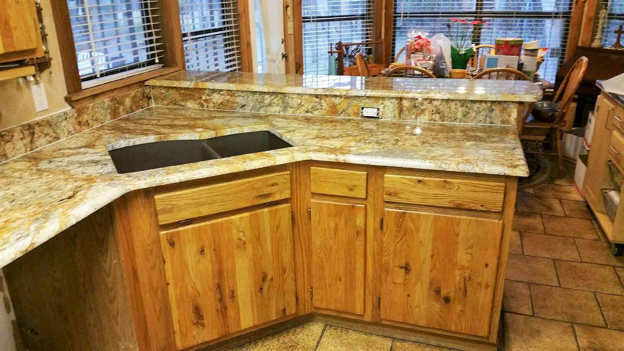 Geriba Gold Granite Neutral Rustic Kitchen Remodel