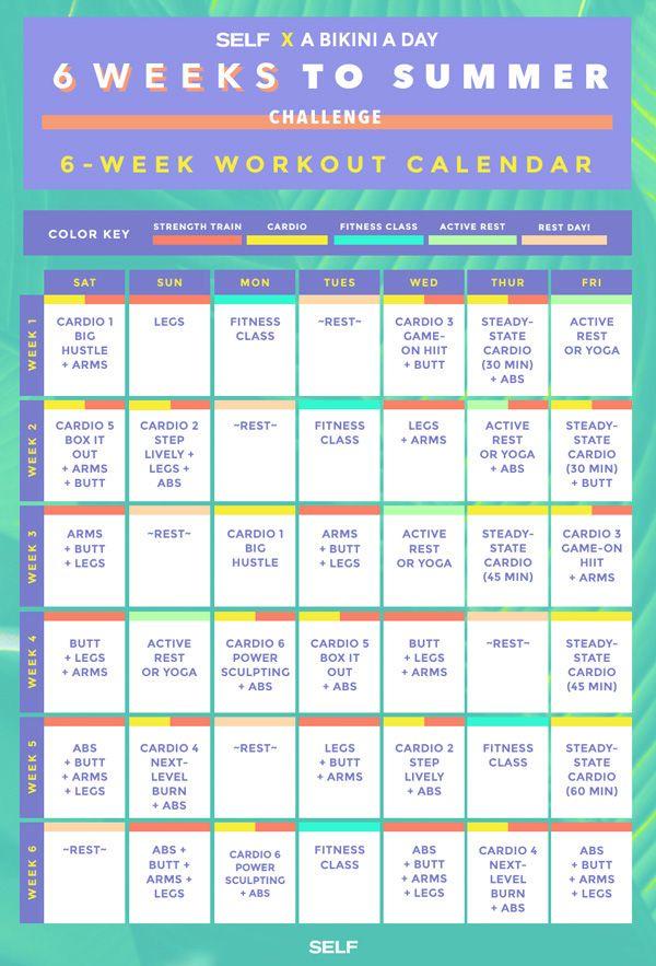 The 6 Weeks to Summer Workout Calendar SELF fit - workout calendar