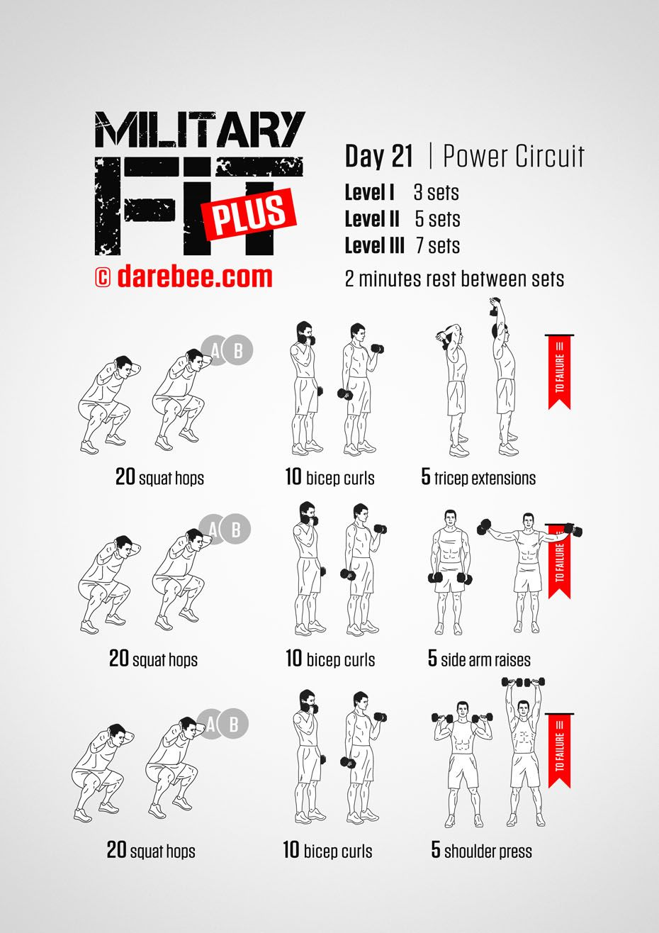 Military Fit Plus: 30-Day Fitness Program #dumbbellexercises