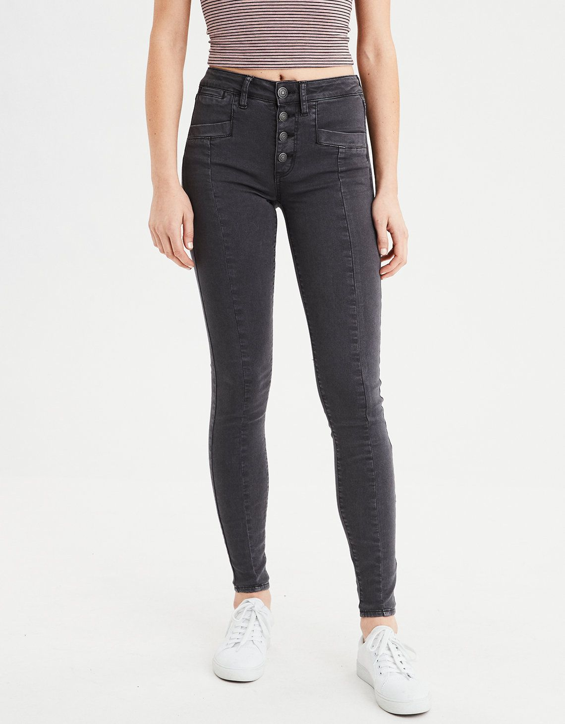 42ae073c0eb92 AE Ne(X)t Level High-Waisted Jegging, Faded Black | American Eagle  Outfitters