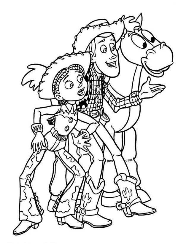 Jessie Woddy And Bullseye In Toy Story Coloring Page Download Print Online Coloring P Toy Story Coloring Pages Disney Coloring Pages Online Coloring Pages