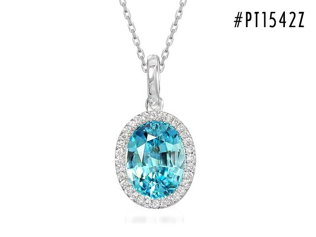 Beautiful blue. This Oval drop pendant is 18Kt. white gold with Natural Blue Zircon and diamonds.