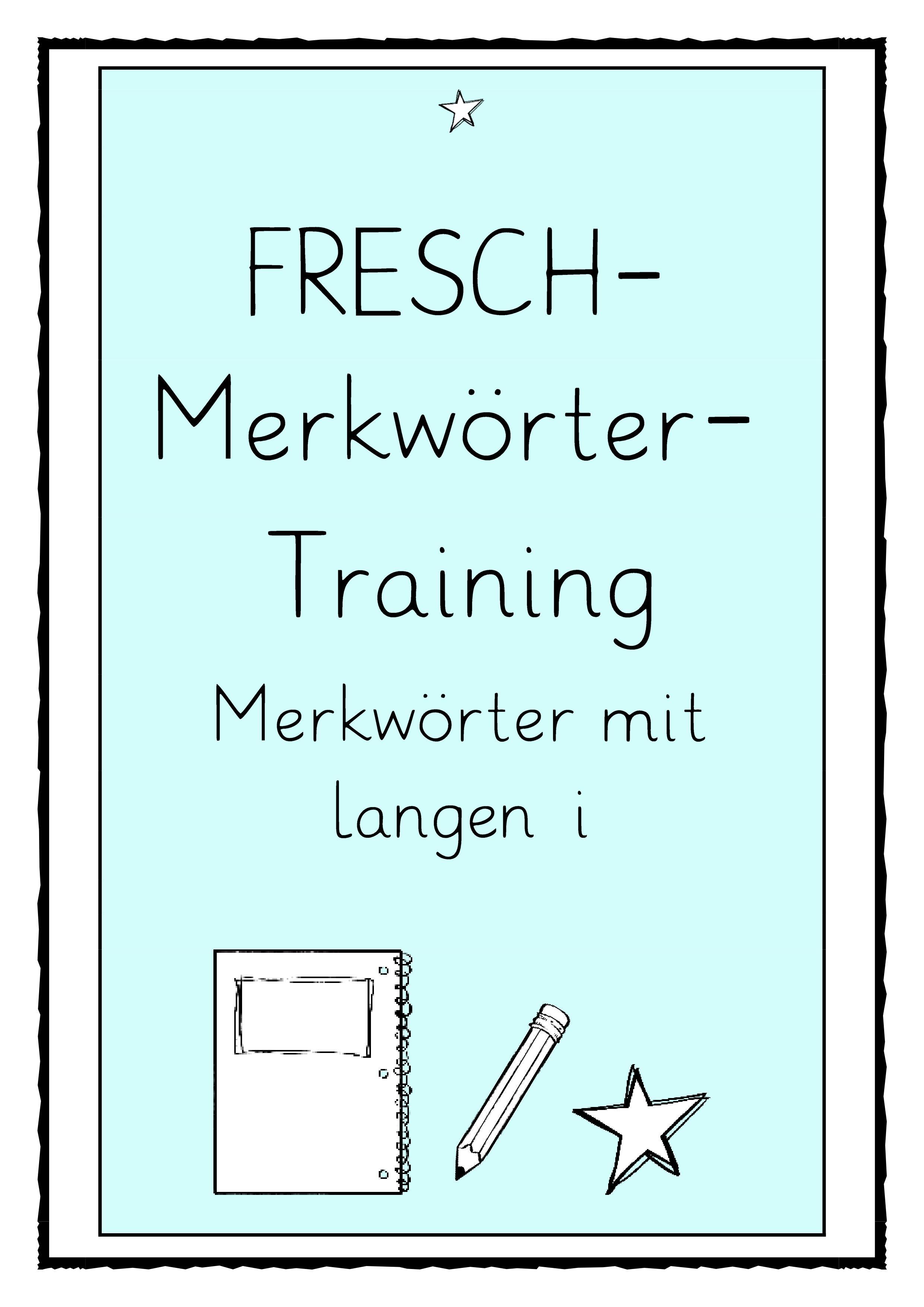 Fresch Merkworter Training Merkworter Mit Langem I Unterrichtsmaterial In Den Fachern Daz Daf Deutsch Merken Wortkarte Worter