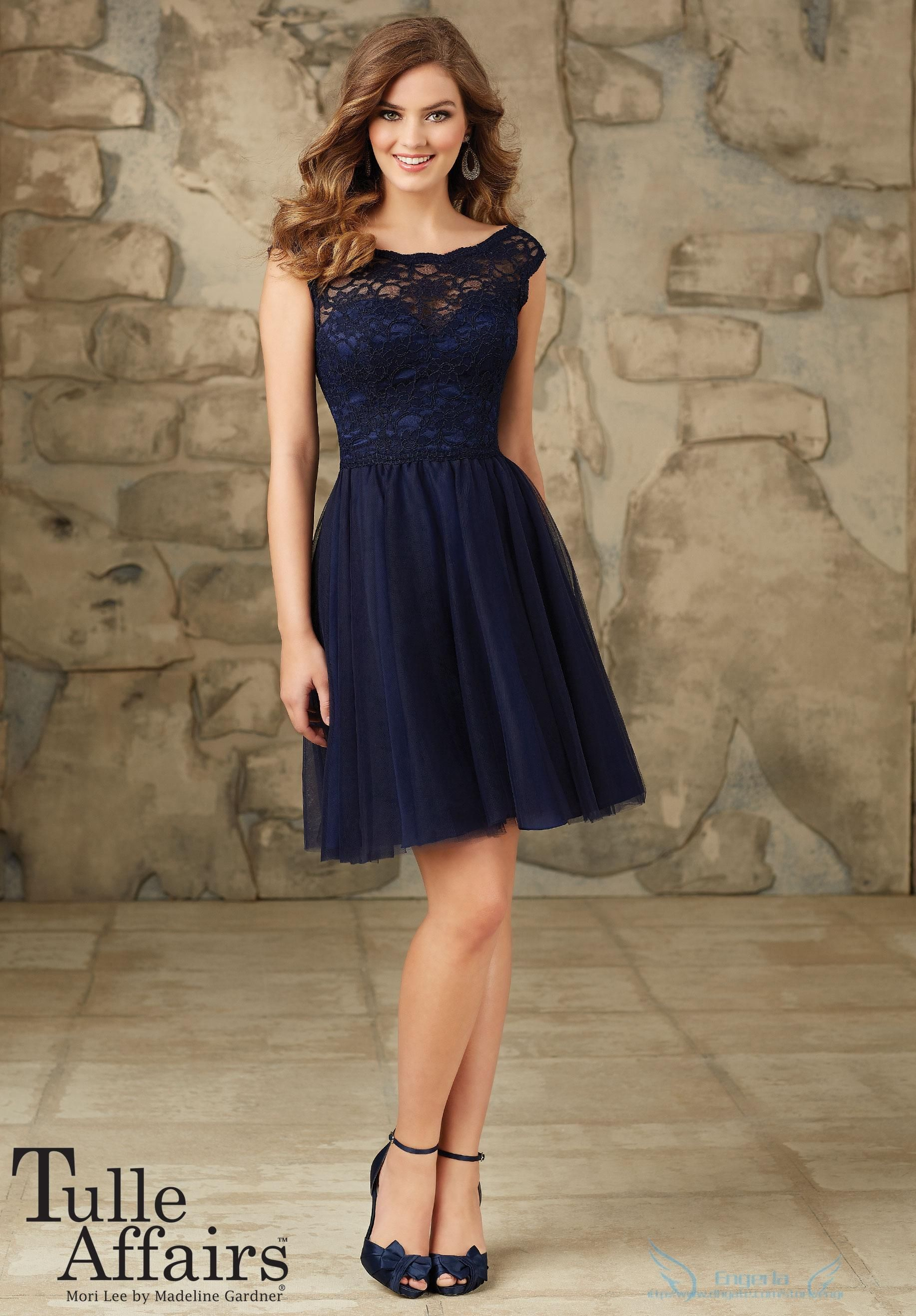 c13022d69b2f Wholesale 2015 Navy Blue Short Bridesmaid Dresses Lace Bodice with Soft  Tulle Knee Length Skirt Backless Beach Maid of Honor Gowns Custom DH06, ...