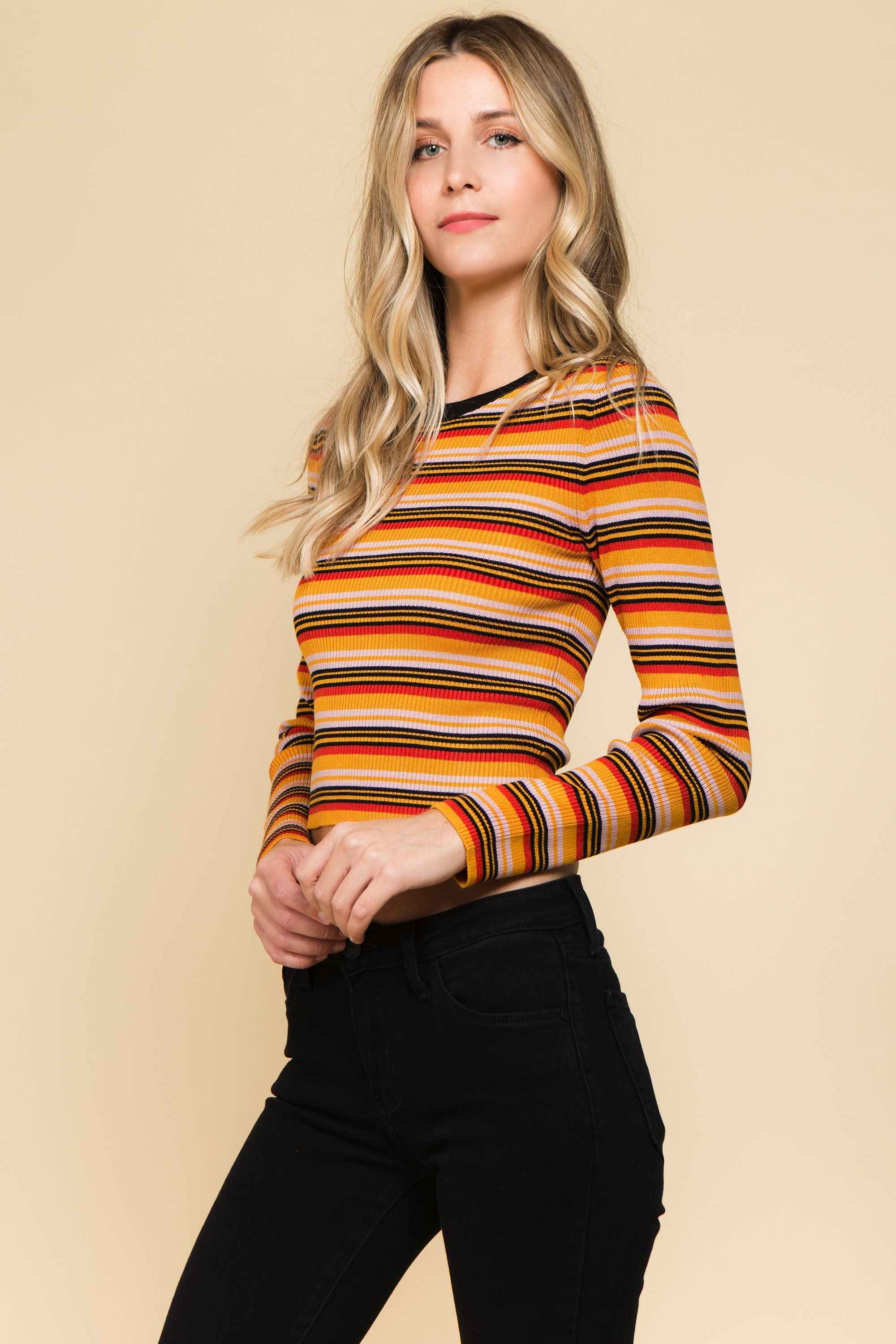 Striped Tee with Colored Sleeves