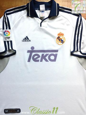 992b3682405 Relive Real Madrid s 2000 2001 La Liga season with this vintage Adidas home  football shirt.