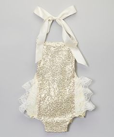 13bde9506f59 Pre-order  Gold Sequin and Lace Infant Romper