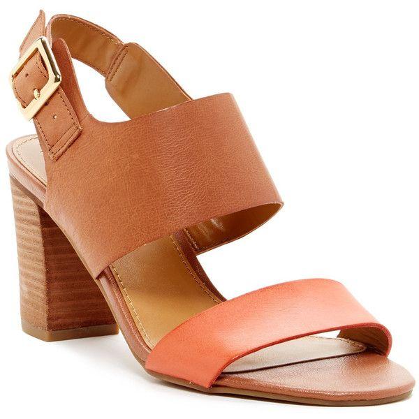 Franco Sarto Gothic Block Heel Open Toe Sandal (3.570 RUB) ❤ liked on Polyvore
