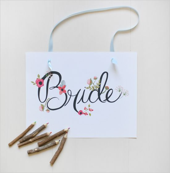 Free Bride and Groom Sign | Hand Painted  By Loft Life Press
