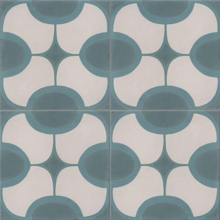 Carreau De Ciment Colore Motif 4 Carreaux Vert Bleu Et Blanc John
