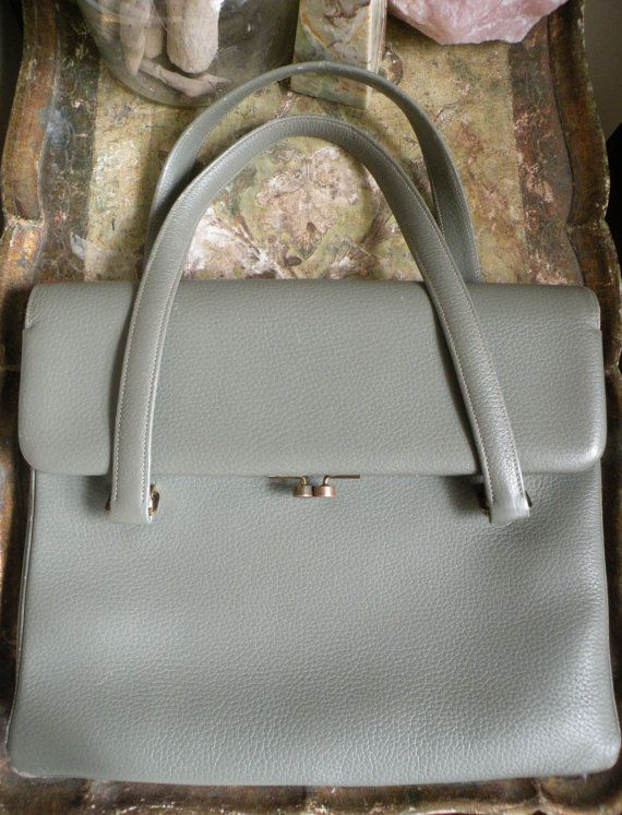 GreenishGrey Vintage Leather Bag  3 pockets  fits by TroppoBella. Wish it fit a 17 inch laptop.