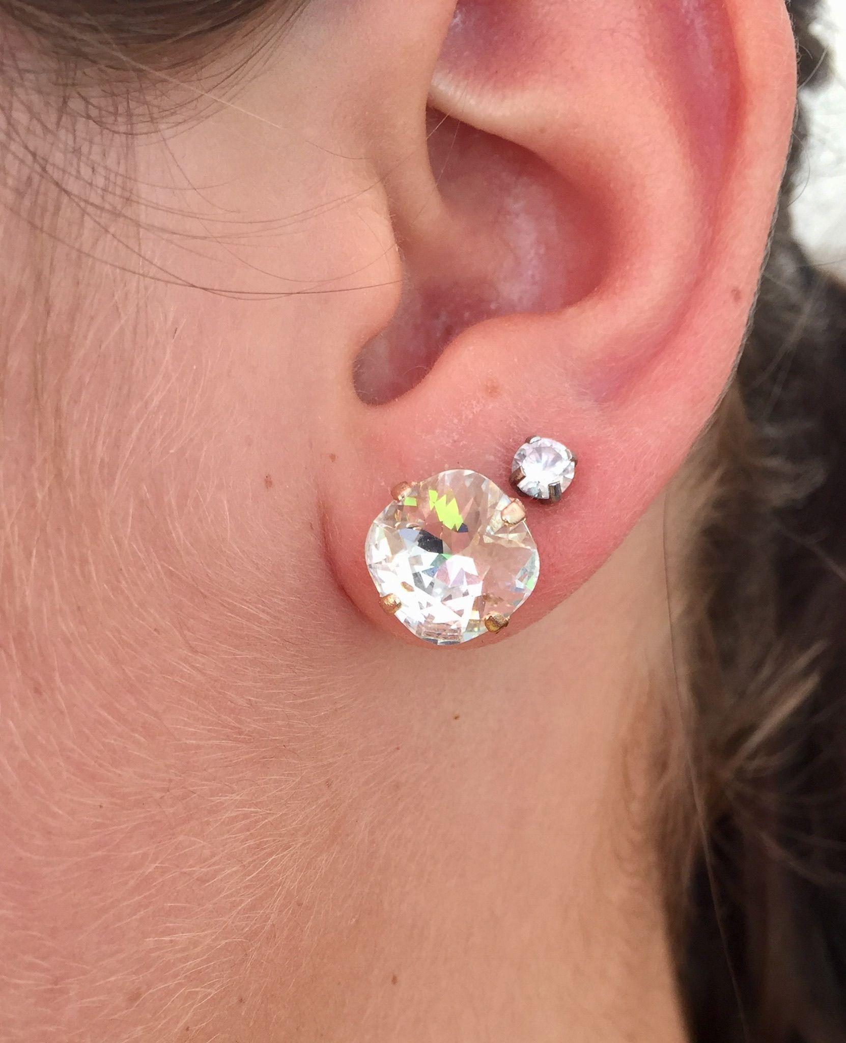 Swarovski 12mm Crystal Stud Earrings Stud Earrings Crystal Stud Earrings Custom Jewelry