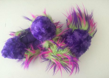 Crazy Fur Soakers CF05 - Purple Fuzzy Fur with Purple, Lime and Hot Pink Crazy Fur (Purple Inside)