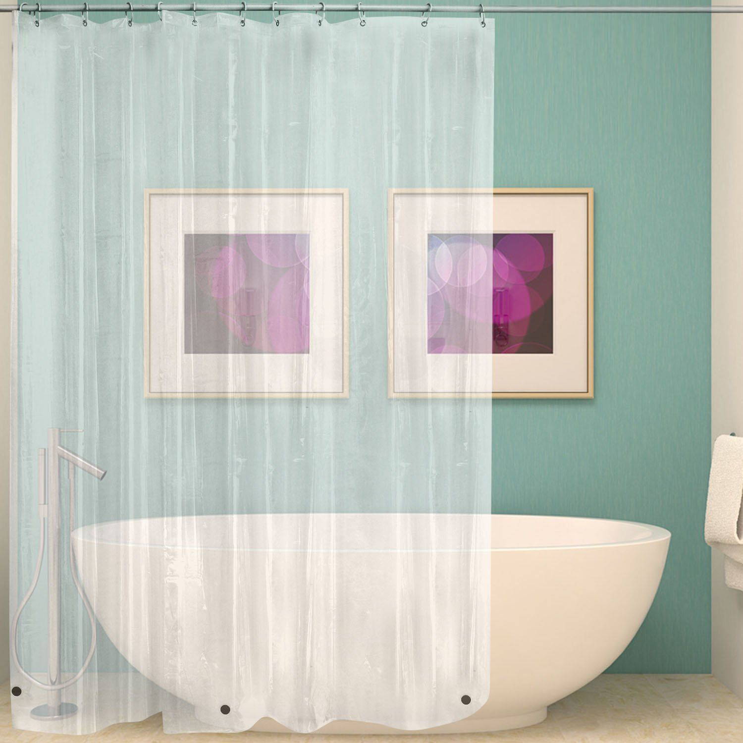 Shower Curtain Liner Waterproof Heavy Weight Rust Proof Grommets with Hooks