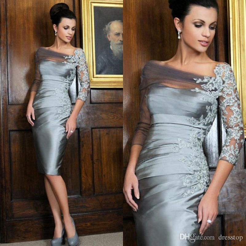 2fa8cdc98694 Free shipping, $77.54/Piece:buy wholesale Cheap Silvery Lace Appliqued  Mother Of The Bride Dresses 3/4 Long Sleeves Sheath Sheer Bateau Neck Knee  Length ...