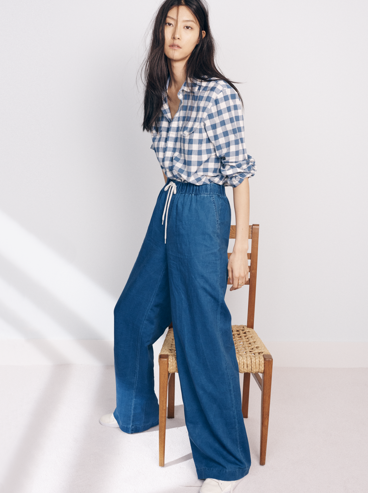 2c25f168 Drawstring pants in an indigo-dyed linen-cotton blend beg for a walk on the  beach (but can also handle a day at the office). True to size.