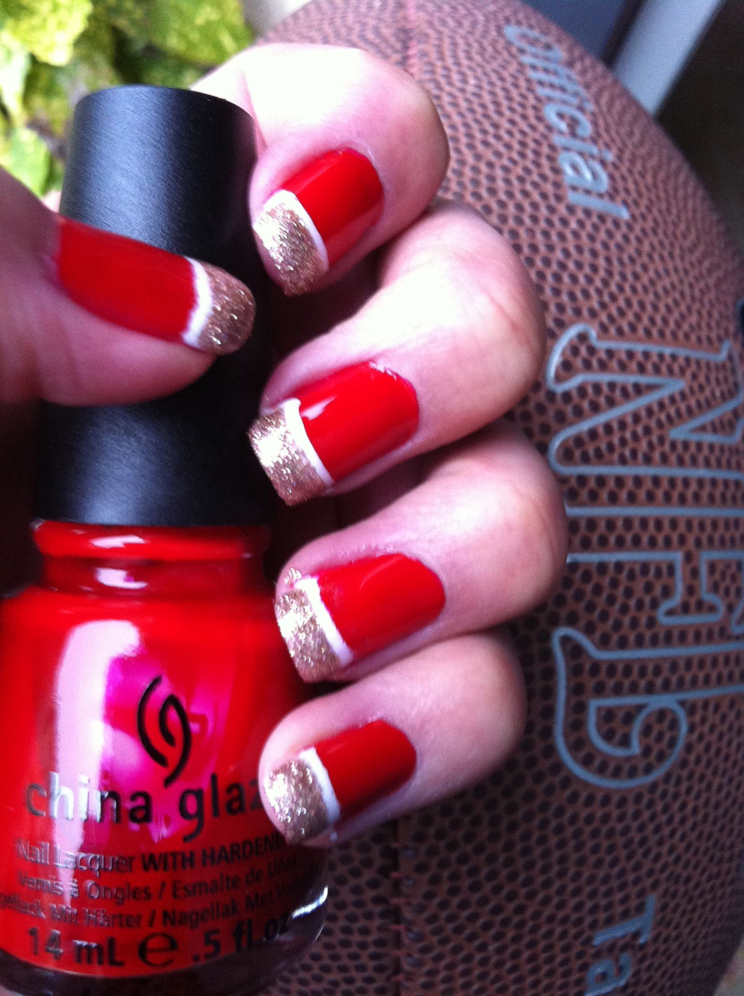 San Francisco 49er nails! Superbowl nails! NFL Nails! China Glaze ...
