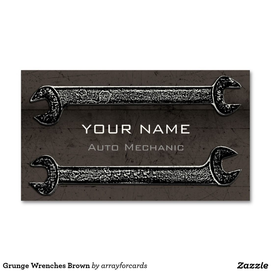 Grunge wrenches brown business card grunge wrenches is a for Mechanic shop business cards