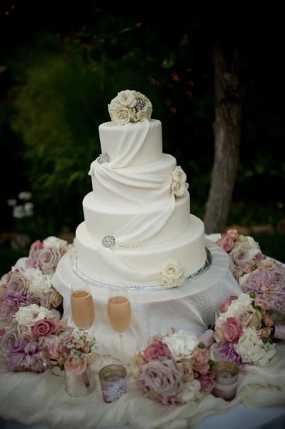 White Draped Wedding Cake