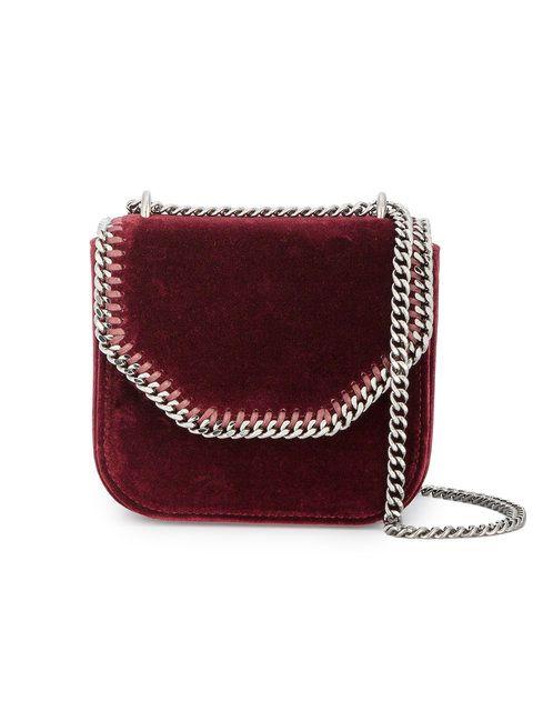 0e78b66d78 Shop Stella McCartney mini Burgundy Velvet Falabella Box Shoulder bag.