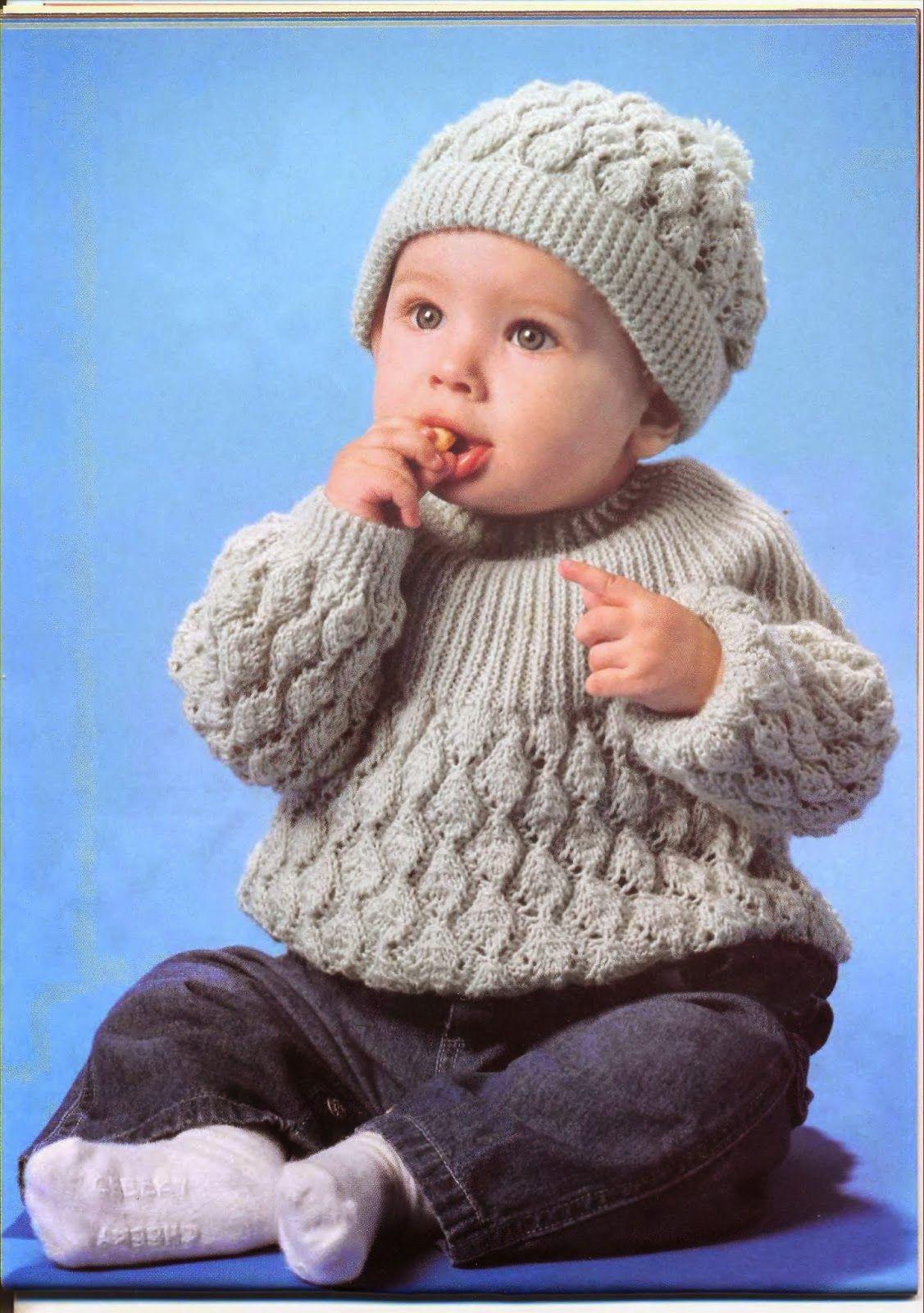 Crochê Tricô - Gráficos  Blusa e Touca para Bebê em Tricô  41a26a639d9