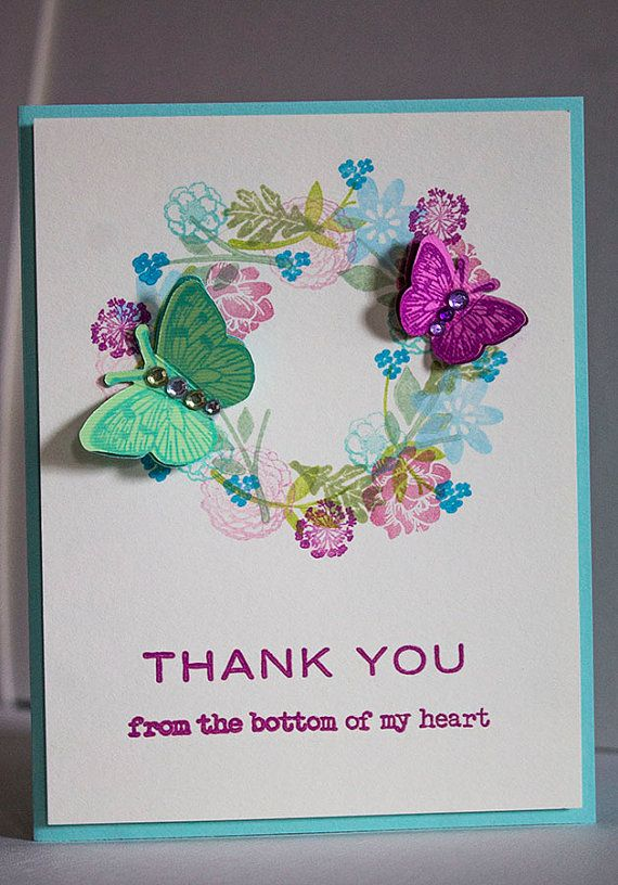 thank you card individual a2 size card handmade floral