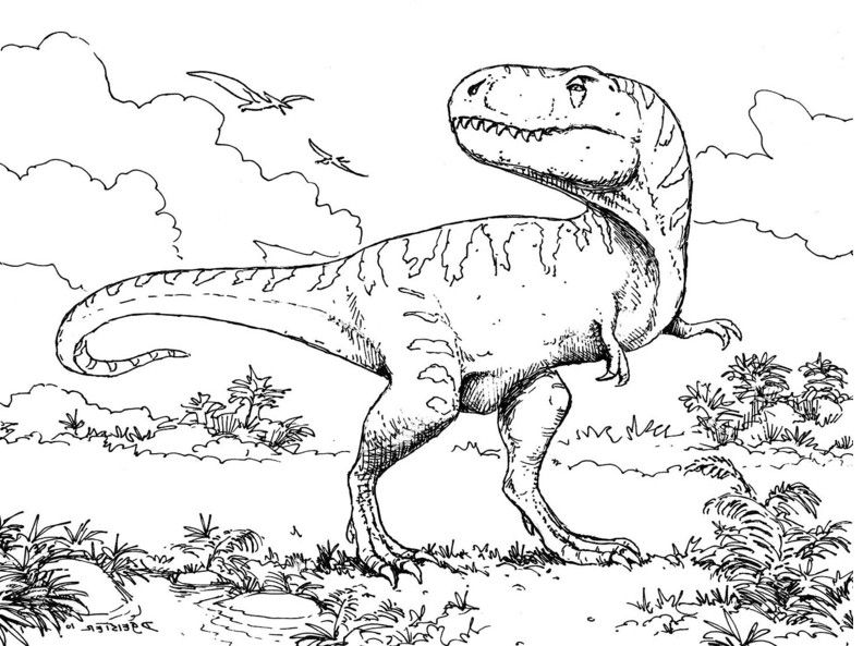 dinosaur fight coloring pages - photo#34