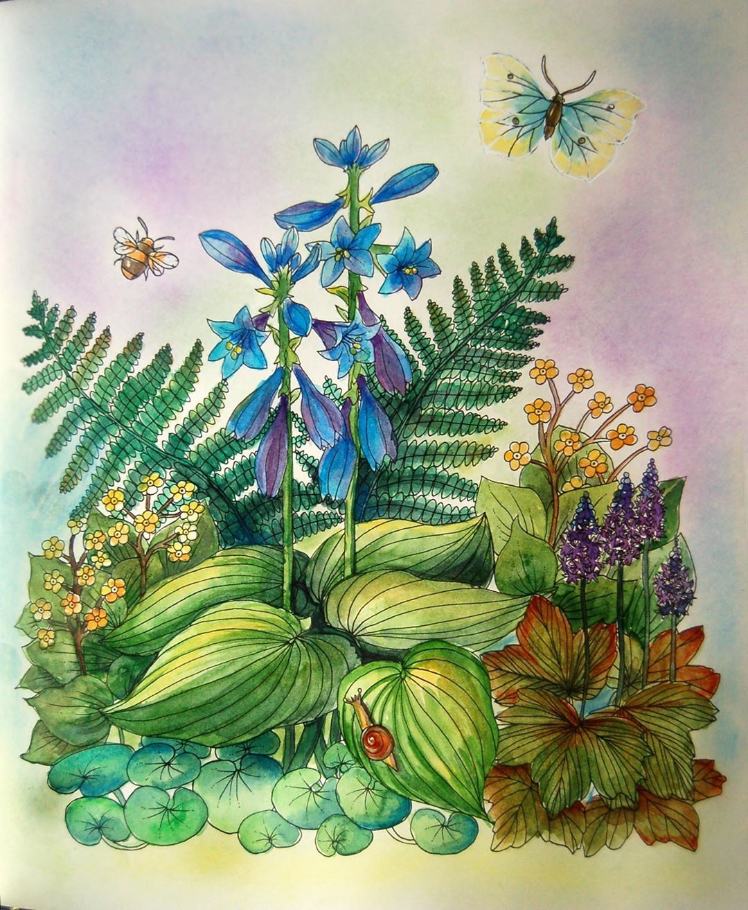 Coloring With Watercolor Paints In Swedish Edition Of Nightfall Skymningstimman By Maria Trolle Malarbok Colo Coloring Books Colorful Drawings Painting