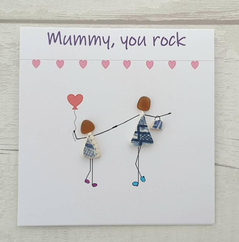 Birthday Pebble Art Card For Mummy You Rock Mothers Day Card Etsy Pebble Art Diy Cards For Mother S Day Card Art