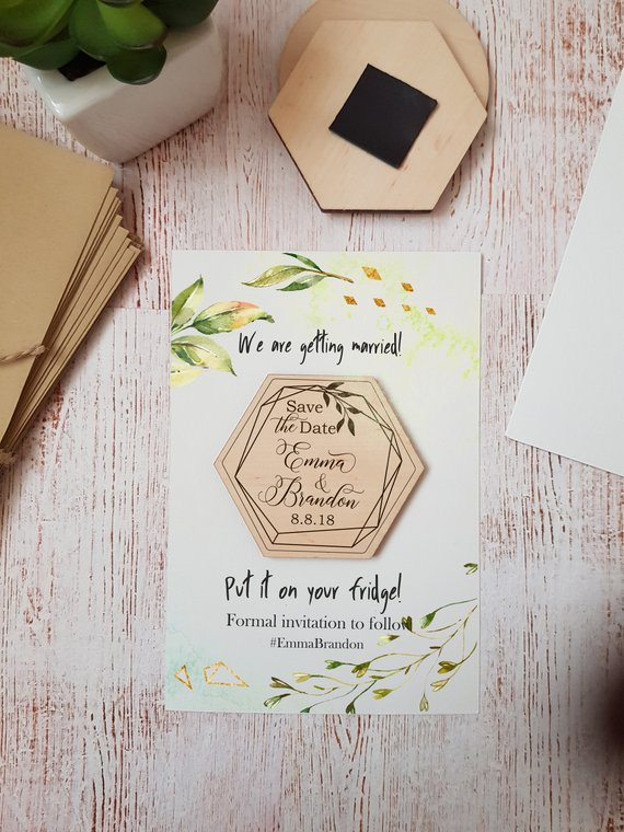 Wedding Save the Date Wood Hexagon Save the Date