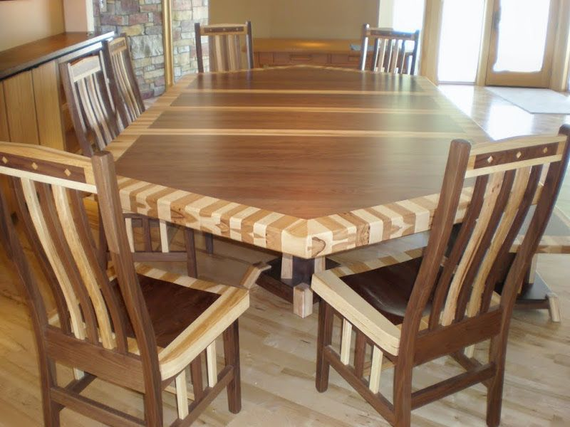 80 X 56 Custom Mixed Wood Double Border Timber Edge Dining Table In Natural Hickory