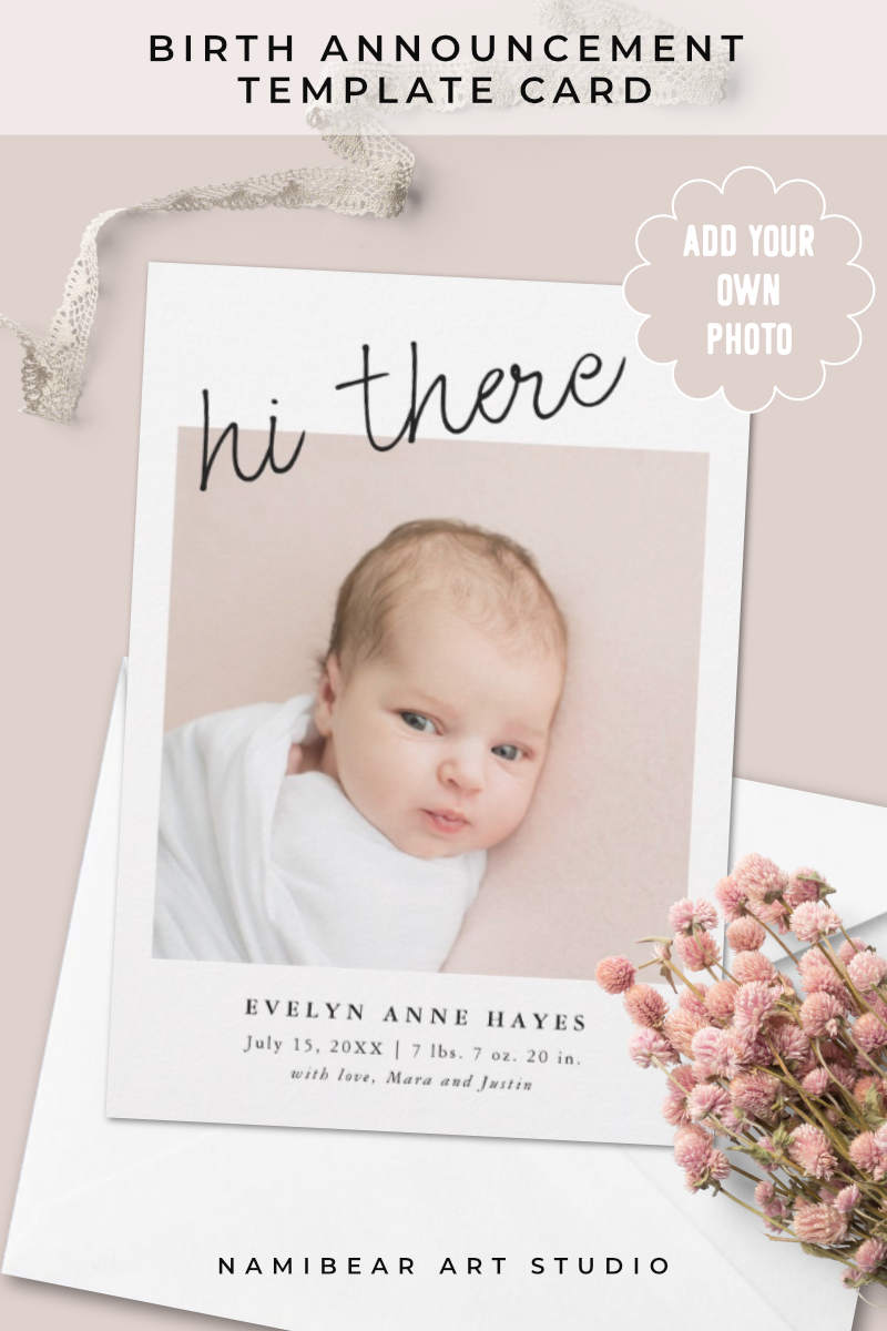 Hi There Casual Script Baby Photo Collage Birth Announcement Zazzle Com Baby Girl Birth Announcement Birth Announcement Baby Photo Collages