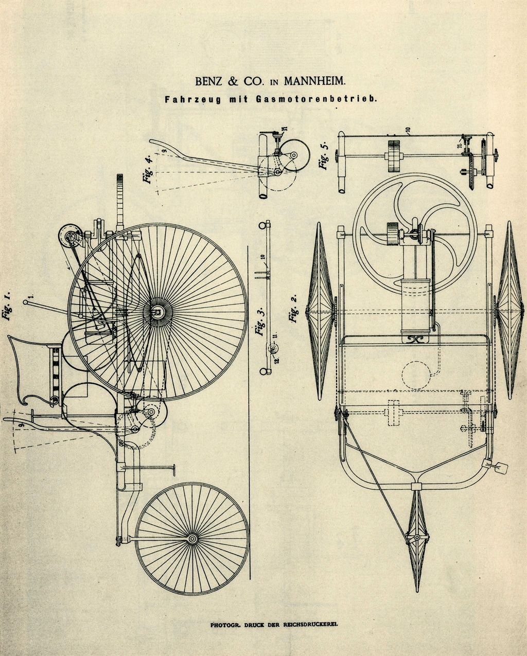 image result for patent motorwagen schematic [ 1024 x 1275 Pixel ]