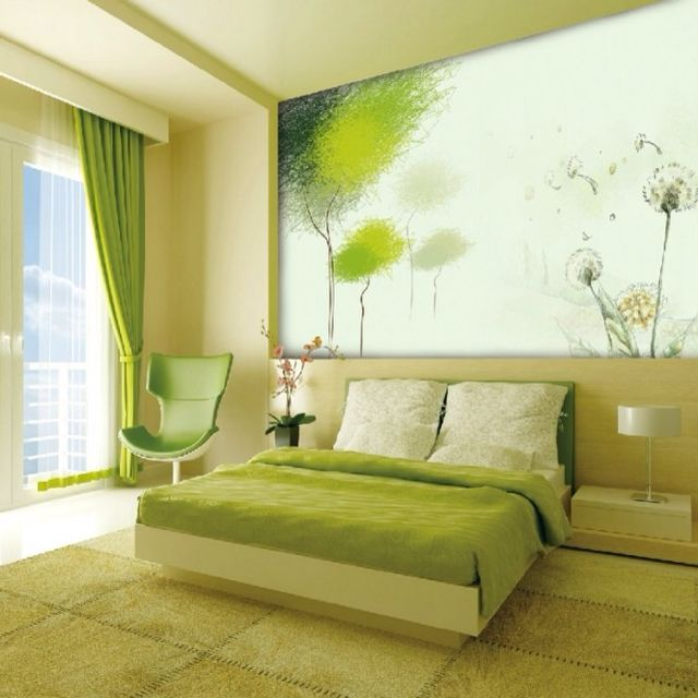Wallpaper Chinese Background In The Bedroom With Green