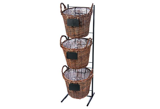 Stacked Baskets W Stand Brown Display Basket Basket Wicker