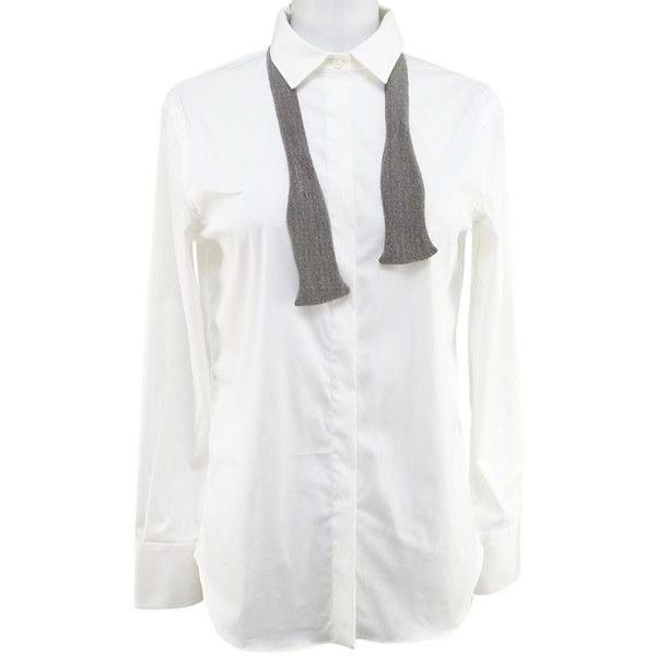 Pre-Owned Brunello Cucinelli White Cotton Blend Long Sleeve Button... ($384) ❤ liked on Polyvore featuring tops, white, white collar shirt, long sleeve shirts, long sleeve button down shirts, white button up shirt and button-down shirt
