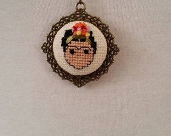 Items similar to Cross Stitch Necklace, Cute Girl  Riding Bicycle Pendant on Etsy