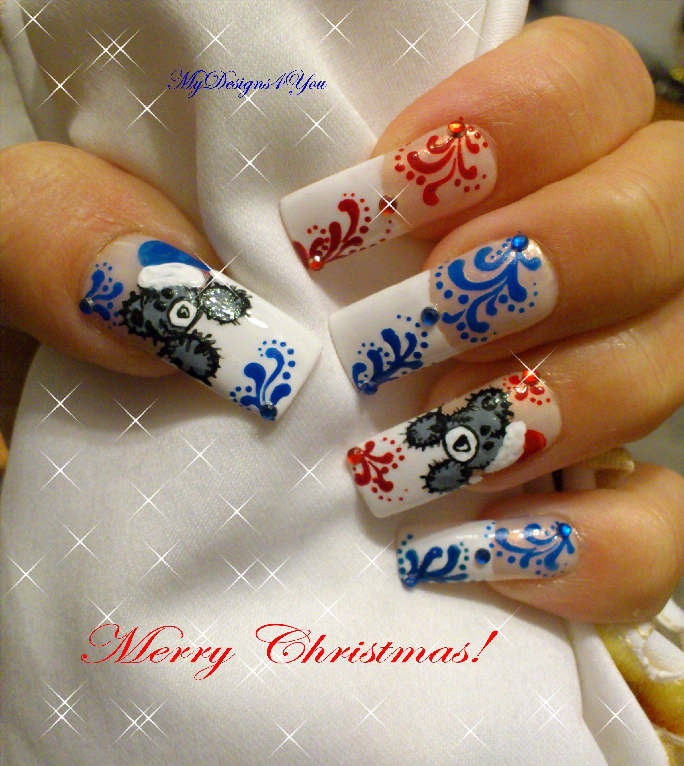 Christmas Toe Nail Art Tutorial: Cute Christmas Teddy Bear Nails. #nailart #nails