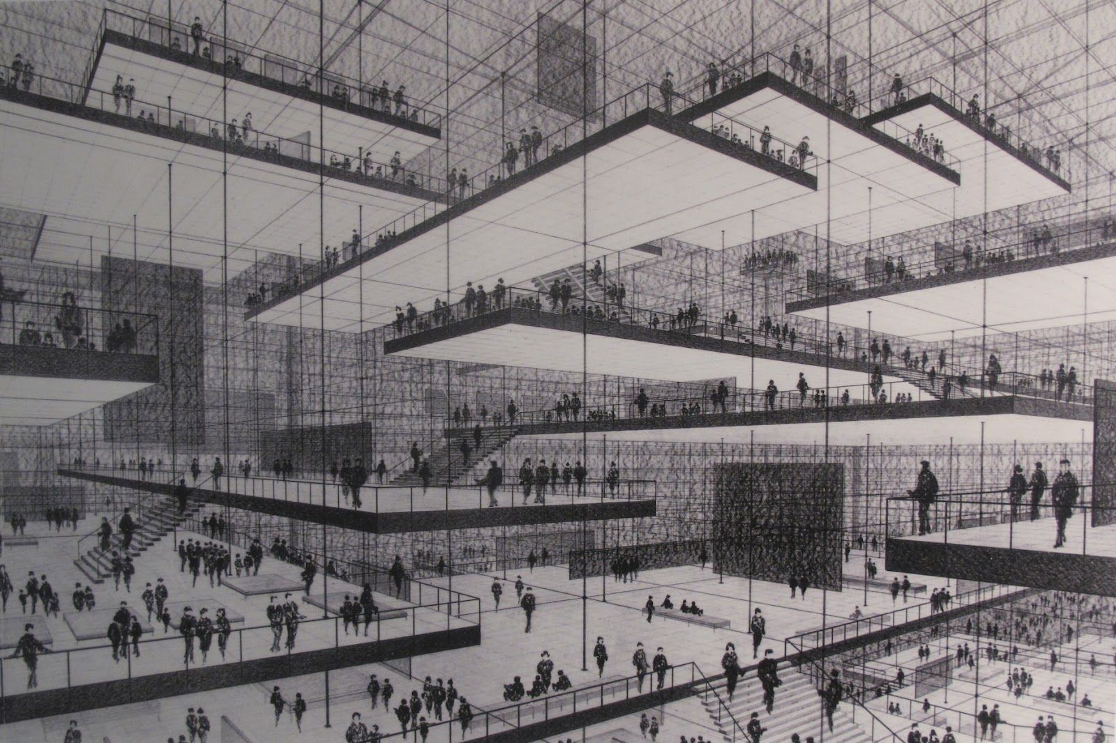 Exhibition Hall D Model : Conrad roland s drawing for an exhibition hall with