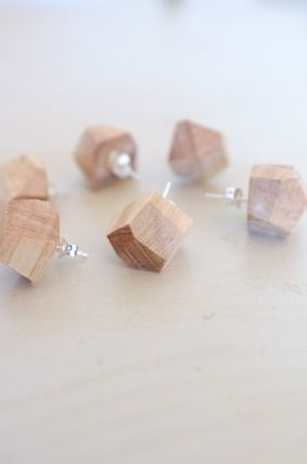 Offcut Studs earings. I am SO making these. YES! YES! YES! Think of the other possibilities for leftover lumber: drawer pulls, curtain-rod finials, door knobs, etc...