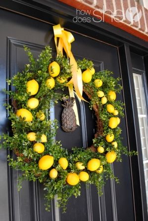 Spring/Summer Wreath (lemons are on sale 15 cents...with natural trimmings thinking less then 10.00