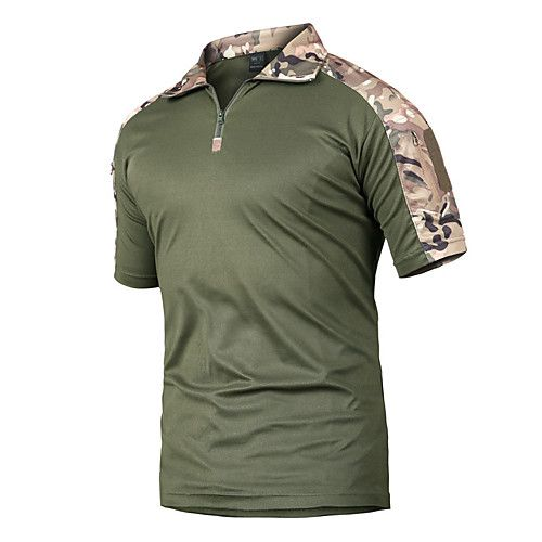 Men's Hunting T-shirt Short Sleeve Outdoor Summer Quick Dry Breathability Wearable Soft Camo / Camouflage Polyester Black Army Green Camouflage Khaki Camouflage Gray
