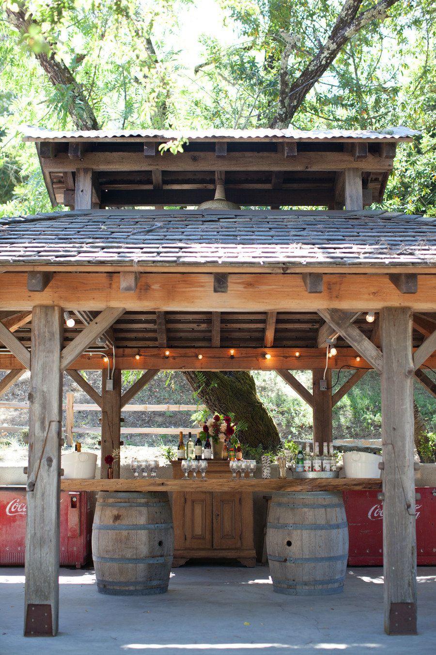 Wine barrel outdoor table rustic outdoor bar rustic outdoor kitchens outdoor kitchen patio