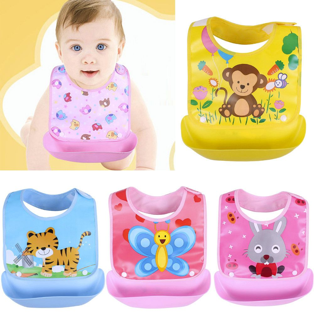 Silicone Toddler Baby Feeding Bibs Food Crumb Catcher Wipeable Waterproof Apron