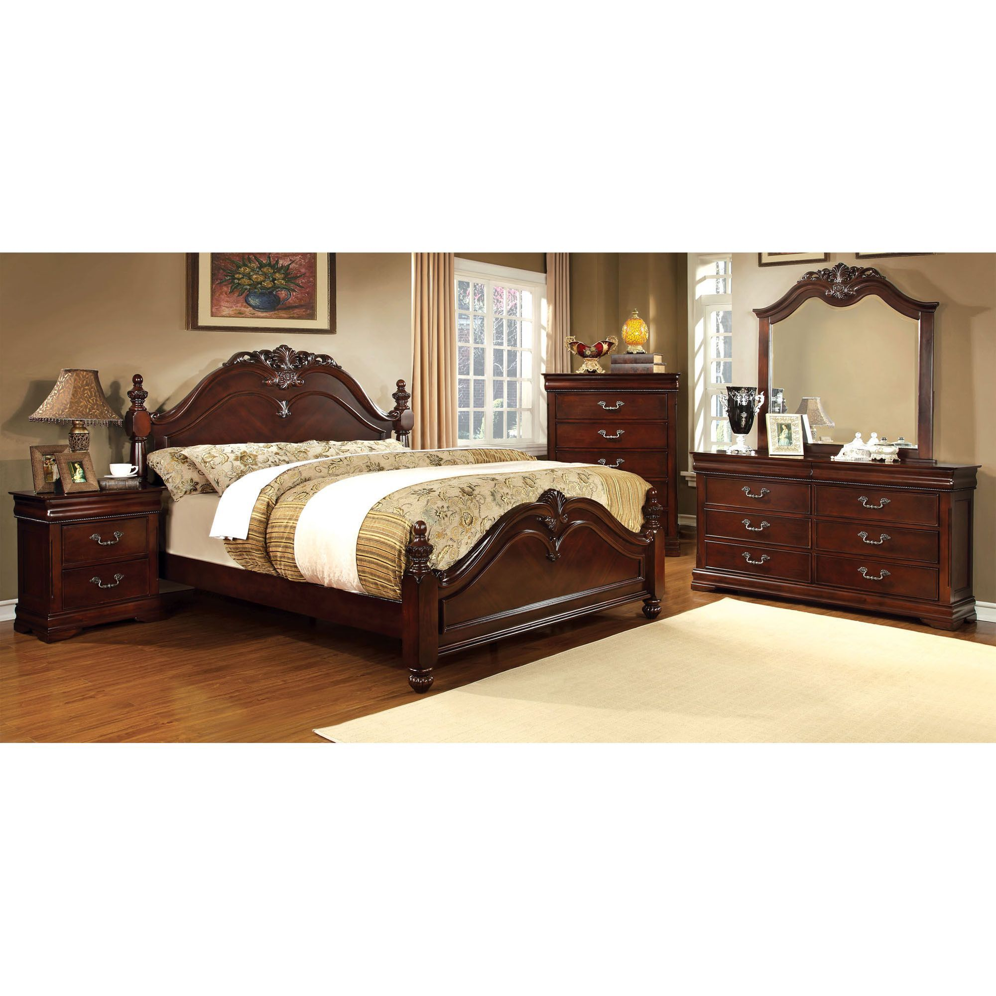Furniture Of America Bastillina English Style 4 Piece Cherry Poster Bedroom  Set   Overstock Shopping